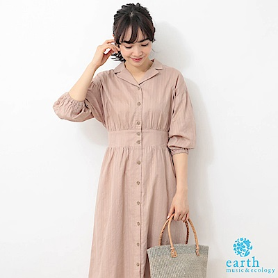 earth music 前排釦蓬袖收腰襯衫洋裝