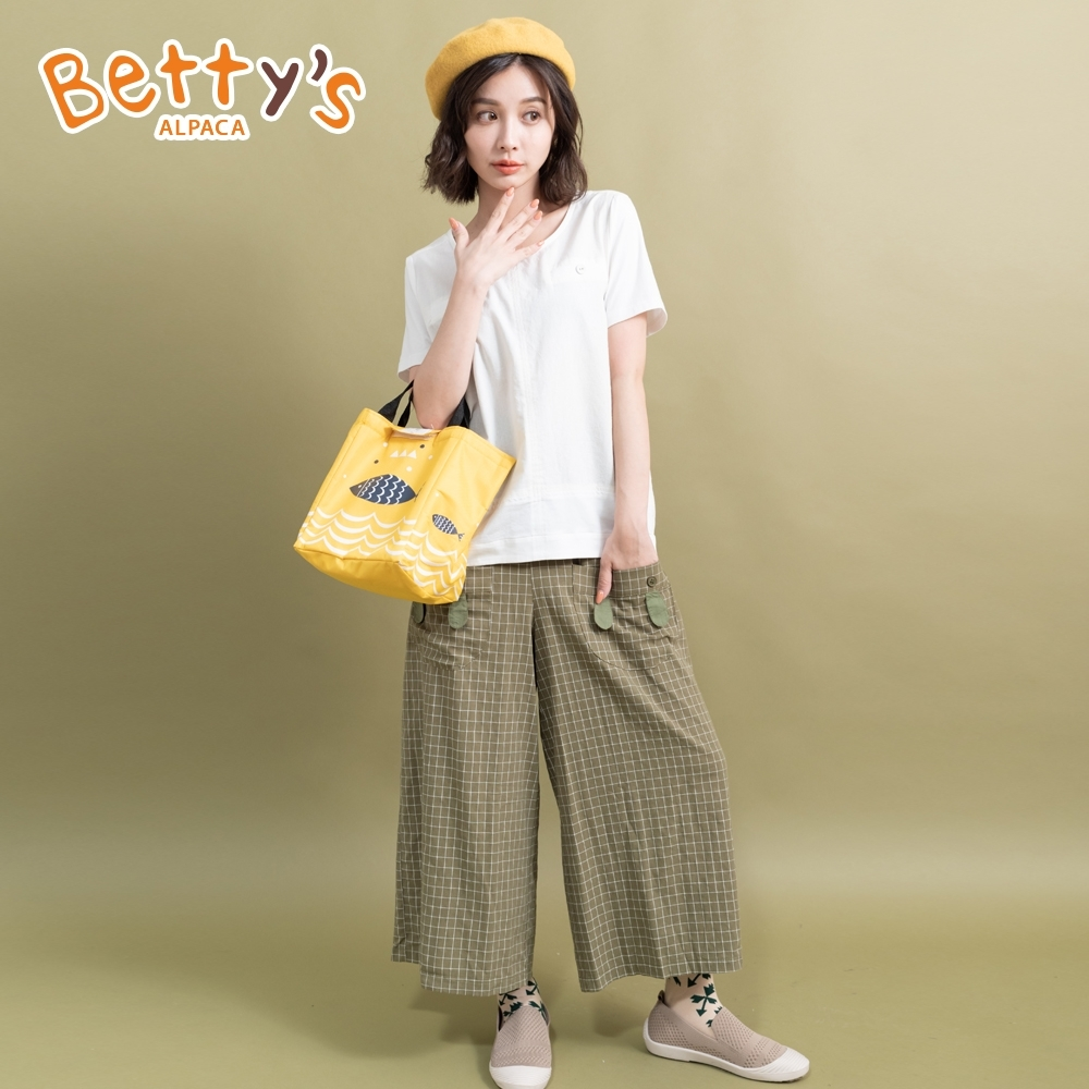 betty's貝蒂思 文藝風兔耳細格寬褲(深綠)