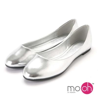 mo.oh-舒適柔軟圓頭平底娃娃鞋-銀色