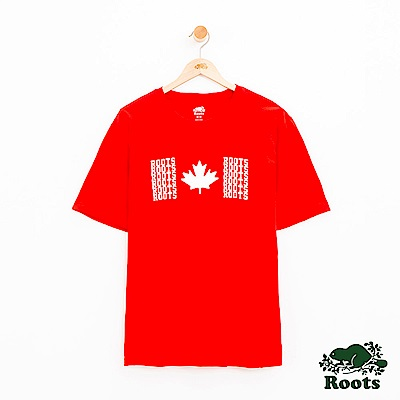 男裝Roots 前胸楓葉短袖T恤-紅