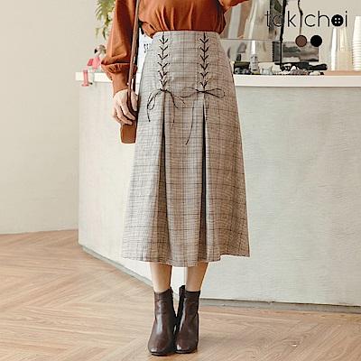 東京著衣 學院風優雅格紋綁帶傘襬長裙-S.M(共二色)