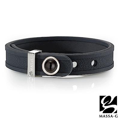 MASSA-G ONLY U唯你天然石鍺鈦手環-品牌革紋(黑)