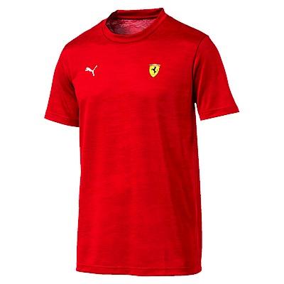 PUMA-男性法拉利車迷系列Tech印花短袖T恤-法拉利紅-歐規