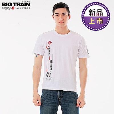 BigTrain加大翻轉潮流主題圓領T-男-白色
