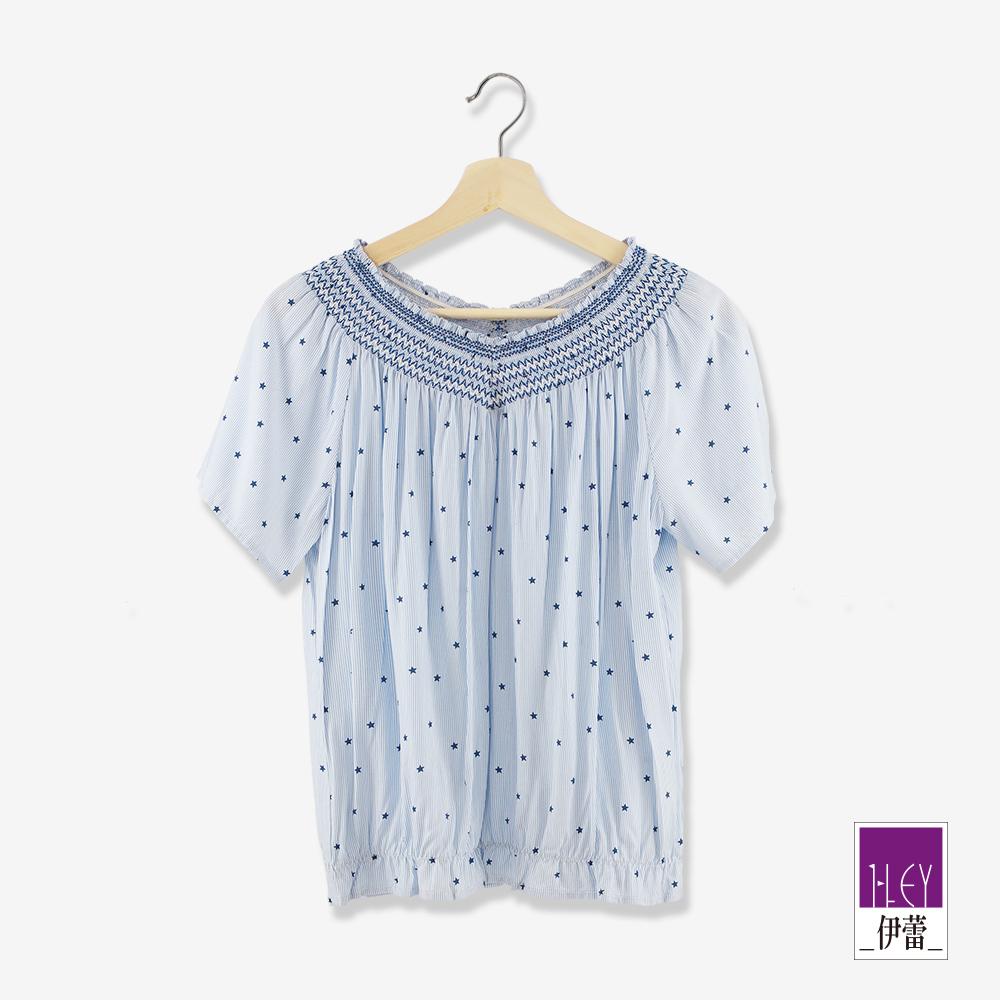 ILEY伊蕾 100%縲縈星星條紋印花上衣(藍)