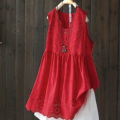 鈎花鏤空寬鬆蕾絲花邊中長版棉背心無袖上衣-設計所在