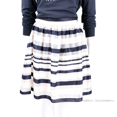 ELISABETTA FRANCHI 深藍色條紋網紗及膝裙
