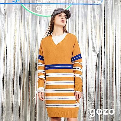 gozo 撞色條紋V領長版針織上衣(焦糖色)
