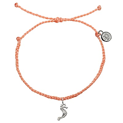 Pura Vida 美國手工 銀色海馬 鮭魚粉臘線衝浪手鍊手環