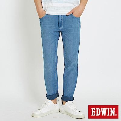 EDWIN 加大碼JERSEYS 迦績涼感 藍袋花窄直筒牛仔褲-男-石洗藍