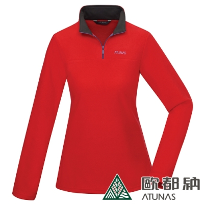 【ATUNAS 歐都納】女款FLEECE刷毛保暖長袖拉鍊衫A1-P1915W紅