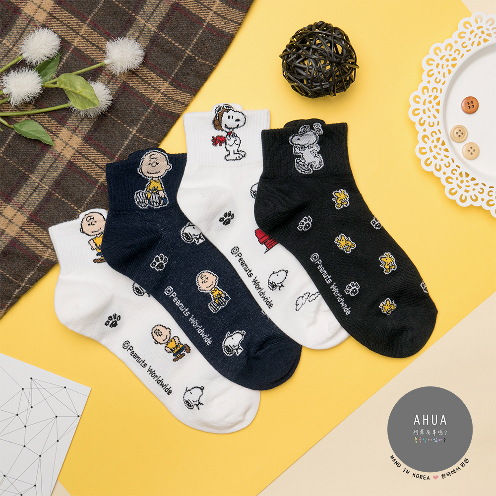 阿華有事嗎 韓國襪子 滿版耳朵史努比中短襪 韓妞必備卡通襪 正韓百搭純棉襪
