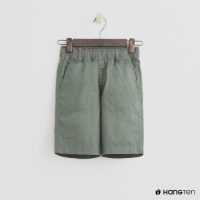 Hang Ten -童裝 - 帥氣純色鬆緊棉短褲 - 綠
