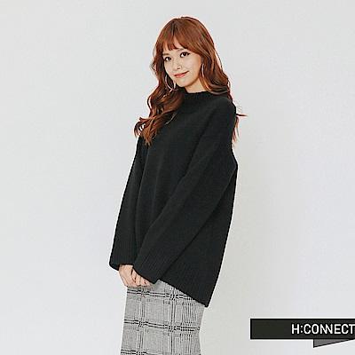H:CONNECT 韓國品牌 女裝-開岔設計高領針織上衣-黑