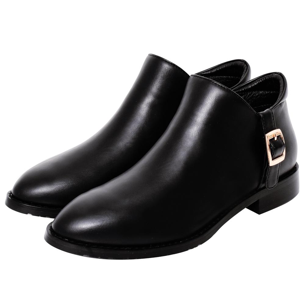 Ann'S低調日常-立體縫線顯瘦V型平底短靴-黑