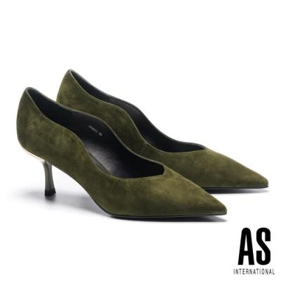 高跟鞋 AS 簡約率性流線剪裁全真皮尖頭高跟鞋-綠