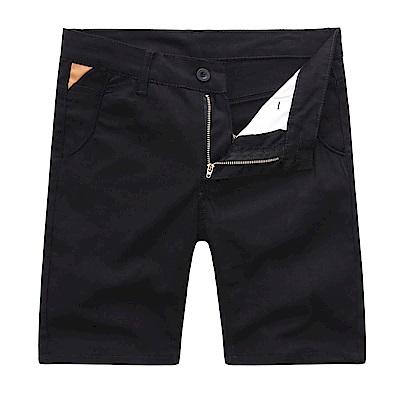 BuyGlasses 夏季素面修身皮標休閒短褲
