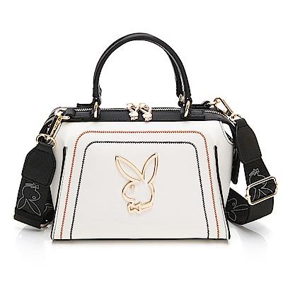 PLAYBOY-  手提包附長背帶 樂遊時尚系列 -米白色