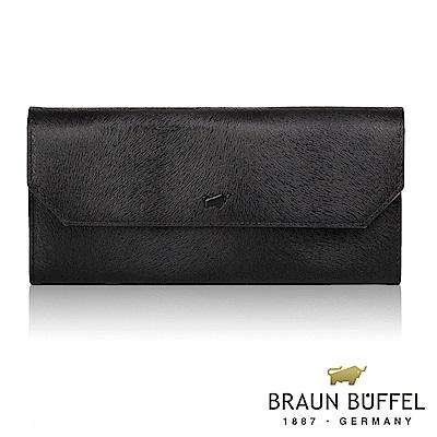 BRAUN BUFFEL - 奧菲莉亞V系列18卡兩折長夾 - 黑撞粉紫