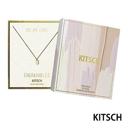KITSCH 美國加州時尚品牌 圓角鎖片14K鍍金墜飾項鍊
