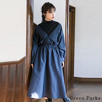 Green Parks 拼接小高領前釦腰身連身洋裝