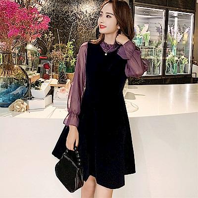 DABI 韓系收腰蓬蓬時髦背帶裙套裝長袖裙裝