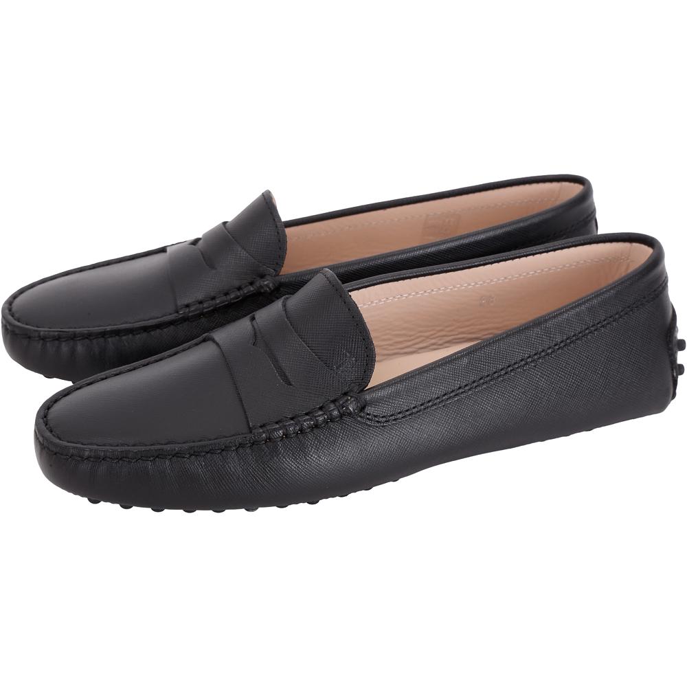 TOD'S Gommino 防刮牛皮豆豆休閒鞋(女鞋/黑色)