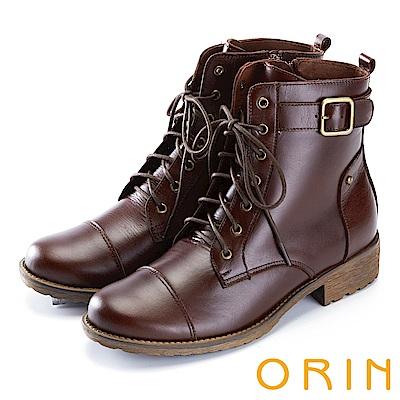 ORIN 中性街頭帥氣 質感牛皮綁帶短靴-咖啡