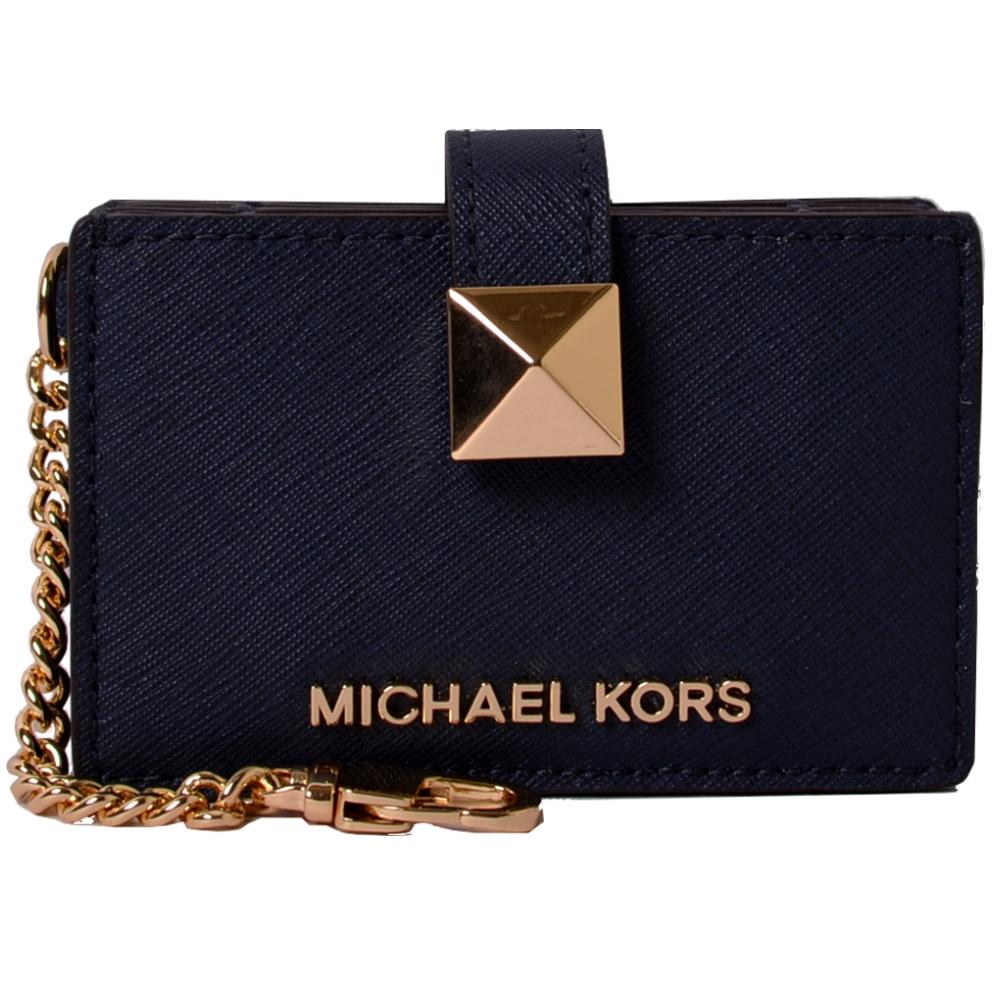 MICHAEL KORS MONEY PIECES經典PVC風琴式吊飾卡片夾-藍