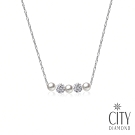 City Diamond 引雅 天然珍珠滿鑽圓形水鑽項鍊(手作設計系列)
