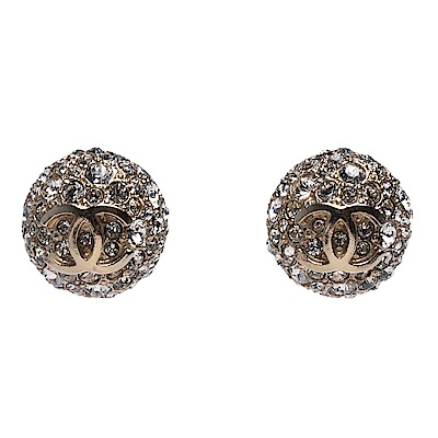 CHANEL 經典雙C LOGO白水鑽鑲嵌弧形穿式耳環(金)