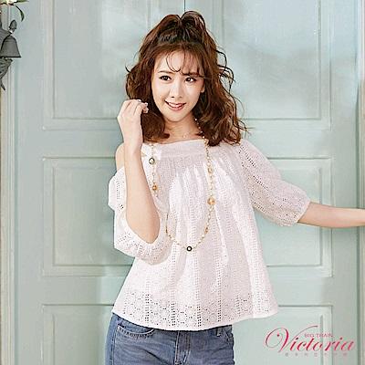 Victoria U領挖肩拋袖七分袖T-女-白色
