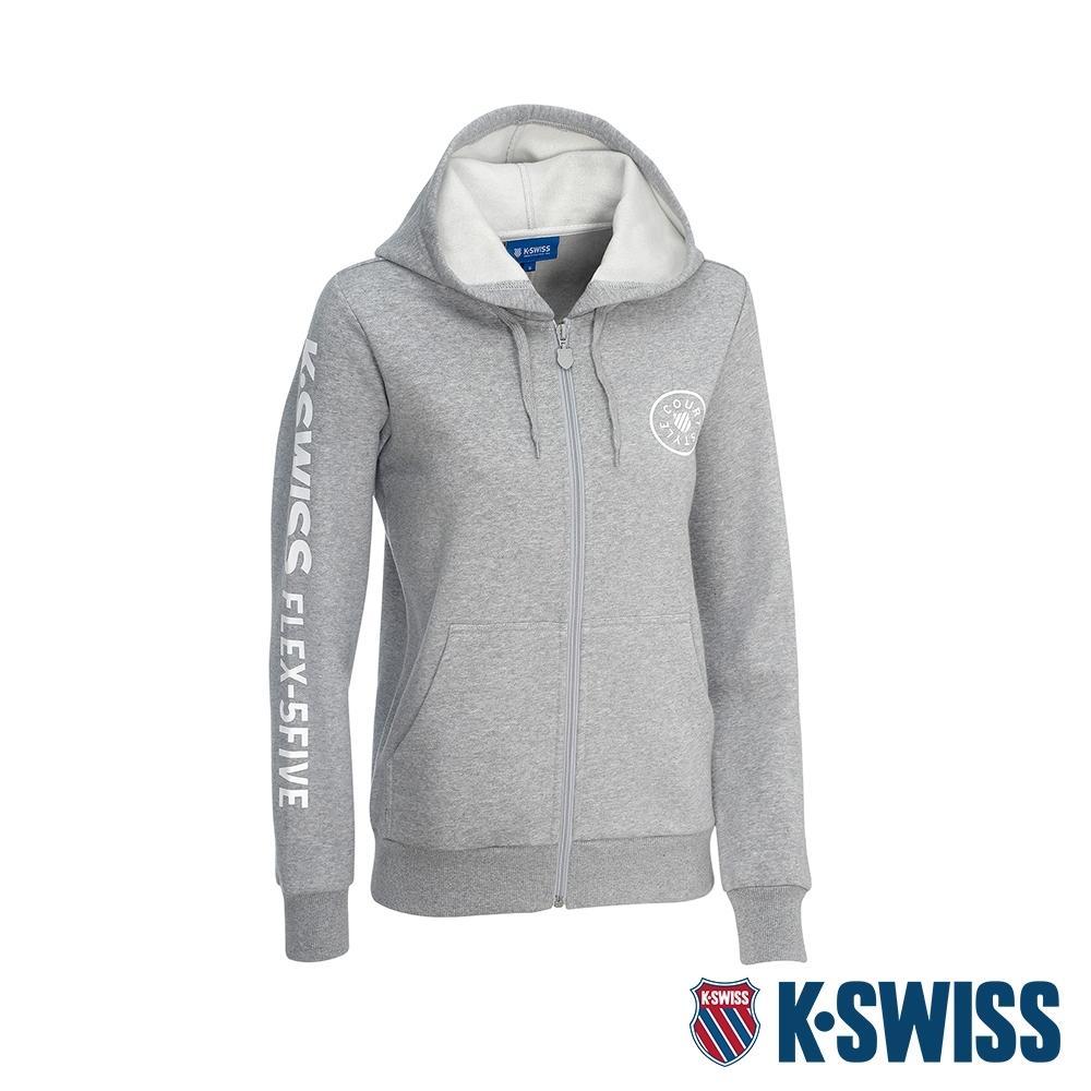 K-SWISS Branding Logo 刷毛連帽外套-女-淺灰