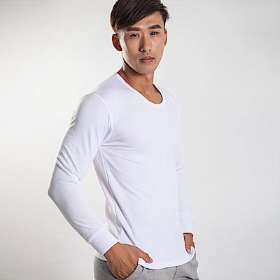 G+居家 男款束口刷毛暖暖衣-圓領-白色