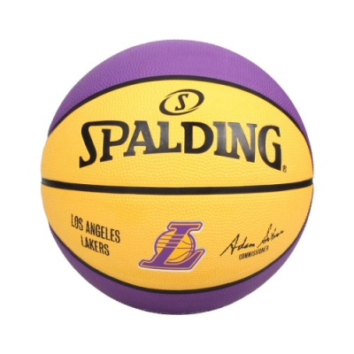 SPALDING 19湖人 #5號籃球-室外 NBA 隊徽球 5號球 運動 斯伯丁 SPA83585 黃紫