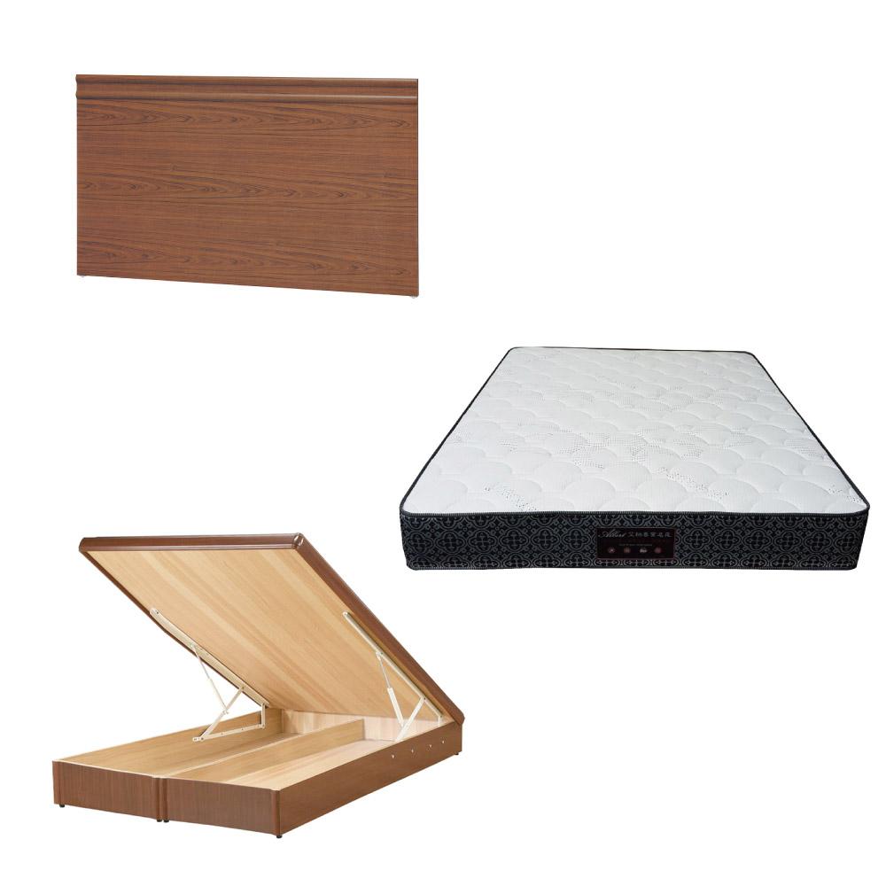 綠活居 可娜6尺雙人加大床台三式組合(床頭片+後掀床底+防蹣抗菌獨立筒)五色可選