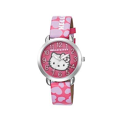 HELLO KITTY 凱蒂貓 繽紛愛心立體貓頭手錶 桃粉紫x桃紅面/36mm