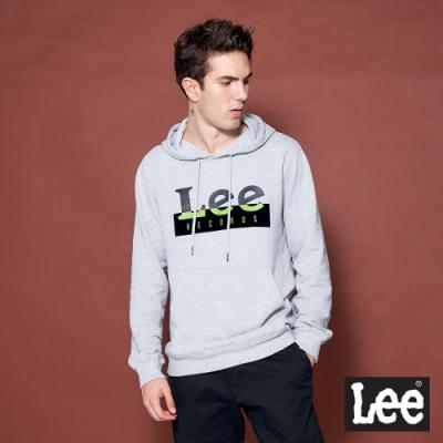Lee 帽T 雙色Logo印花 連帽厚T 男女中性款 灰色