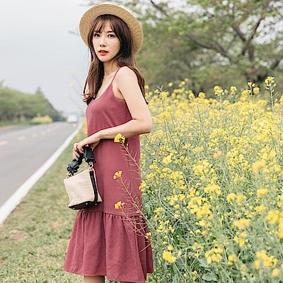 荷葉裙襬拼接純色細肩帶雪紡中長洋裝-OB嚴選