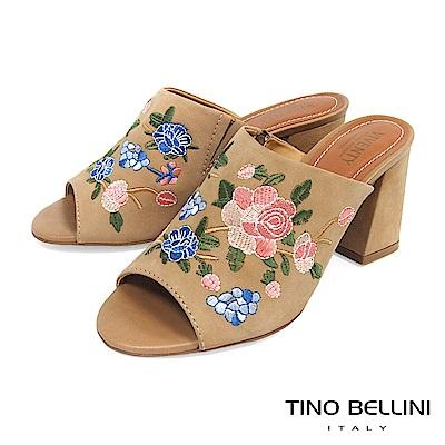 Tino Bellini 巴西進口絕美刺繡花妍高跟魚口涼拖鞋 _ 淺棕