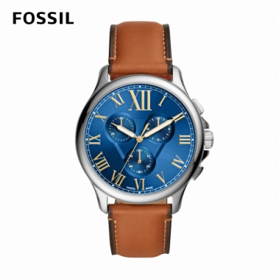 FOSSIL Monty 羅馬數字湛藍三眼男錶 棕色真皮皮革錶帶 44MM FS5640