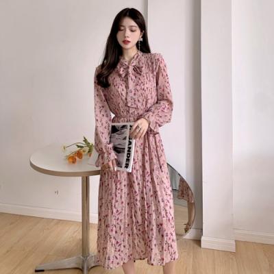 【KISSDIAMOND】甜美綁帶收腰小花雪紡洋裝(優雅/女神風/KDD-7557)