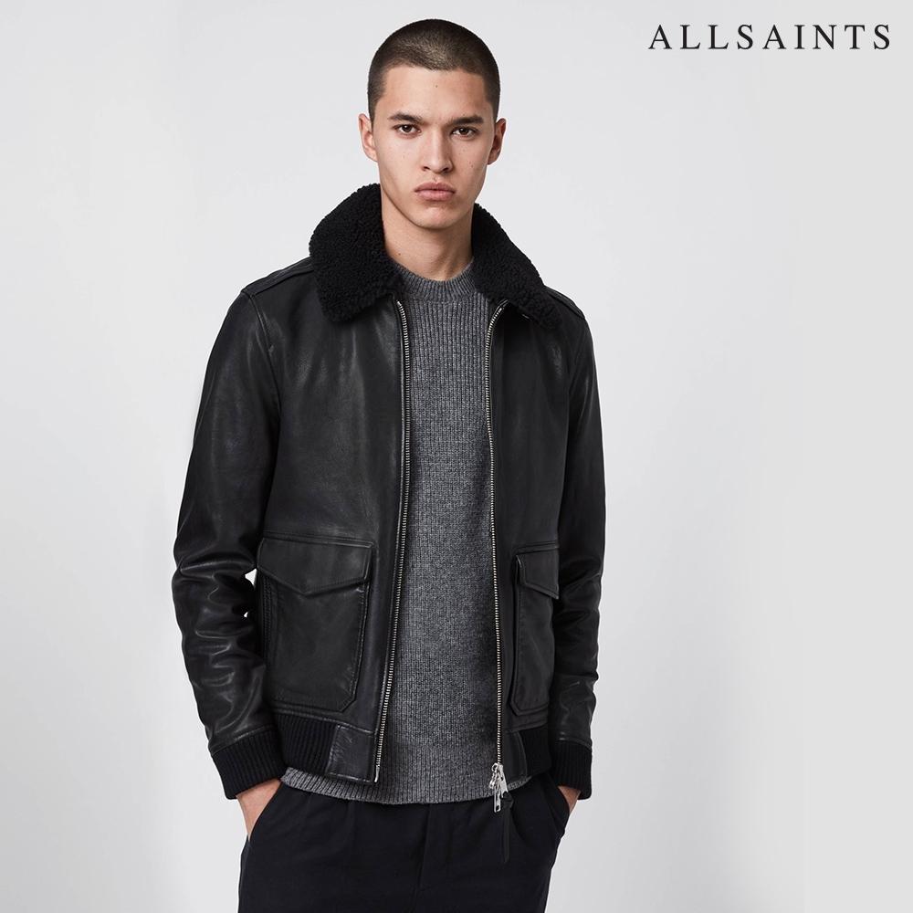 ALLSAINTS PHOENIX 柔順可拆式毛領羊皮皮衣夾克外套-黑