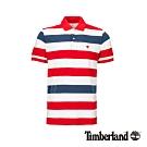 Timberland 男款巴貝多櫻桃紅粗條紋短袖POLO衫|A288K
