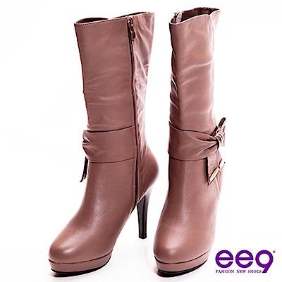 ee9 心滿益足~英倫美人超柔軟真皮蝴蝶結美型高跟中筒靴~氣質可可