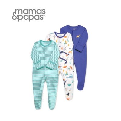 Mamas&Papas 恐龍快遞-連身衣3件組