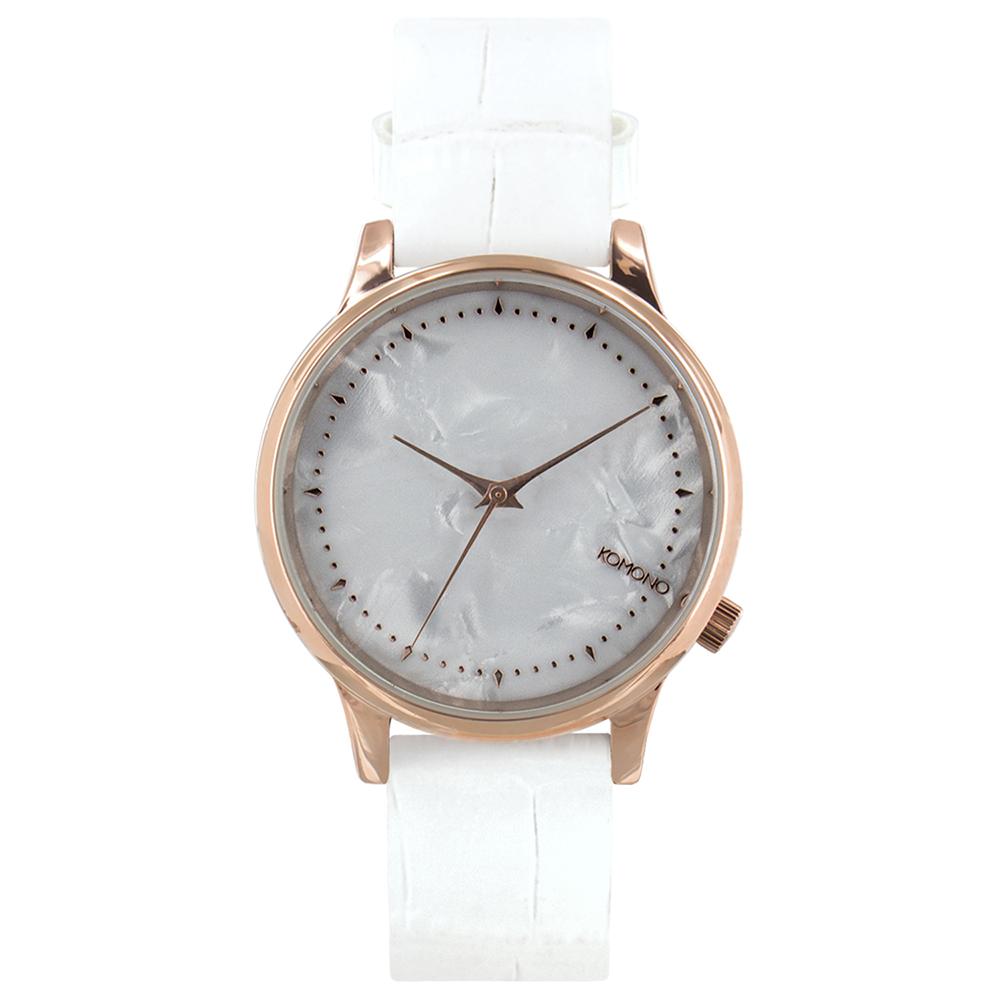 KOMONO Estelle Monte Carlo 腕錶-白色鱷魚/36mm