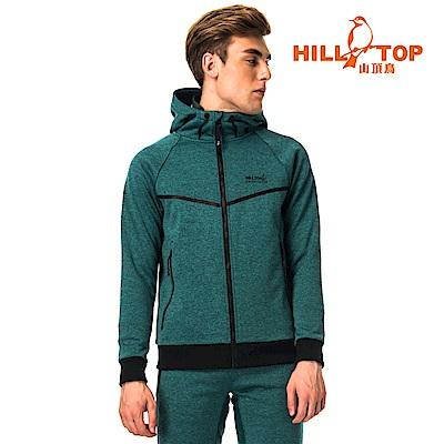 【hilltop山頂鳥】男款連帽刷毛外套H22MW7黑綠
