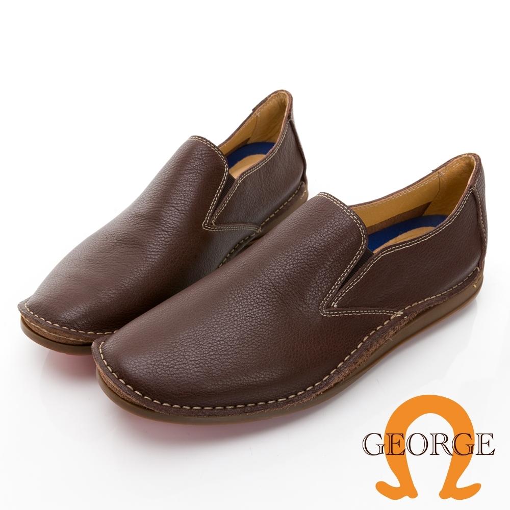 GEORGE 喬治皮鞋舒適系列 超軟荔枝紋牛皮直套式輕便鞋 -咖 018015BR
