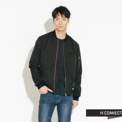 【周慶限量款】H:CONNECT 韓國品牌 男裝-質感印字飛行外套-黑